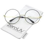 c4af84437e zeroUV - Oversize Metal Frame Slim Temple Clear Lens Round Eyeglasses 60mm  - 60mm