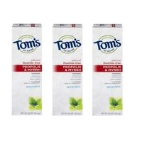 (3 Pack) Tom's of Maine Toothpaste Spearmint Natural Fluoride-Free Propolis & Myrrh, 5.5 OZ
