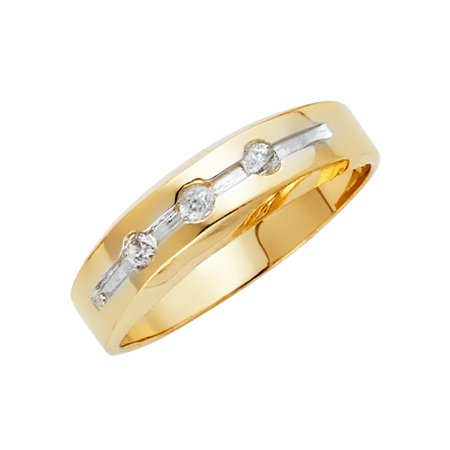 FB Jewels 14K White and Yellow Gold Ring Two Tone Cubic Zirconia CZ Mens Anniversary Wedding Band Size 5.5](Jewel Tone Wedding)