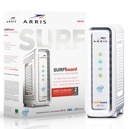 ARRIS SURFboard SB6190 (32x8) Cable Modem, DOCSIS 3.0 | Certified for XFINITY by Comcast, Spectrum, Time Warner, Cox & more | 1.4 Gbps Max Speed | (Best Alternative To Time Warner Cable)