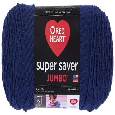 Red Heart Super Saver Acrylic Soft Navy Yarn, 1