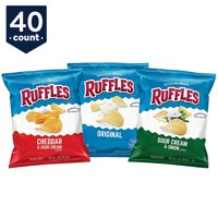 Ruffles Potato Chips, Variety Snack Pack, 1 oz Bags, 40 Count
