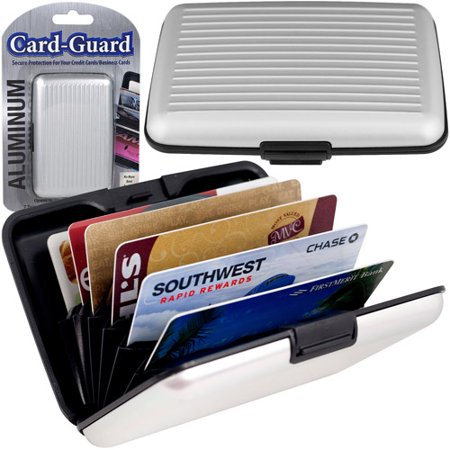 - Aluminum Credit Card Wallet, RFID Blocking Case, Silver