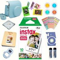 Fujifilm instax mini Film accessories KIT BLUE includes - instant film 10 pack +  deluxe bundle for Fujifilm instax mini Film camera