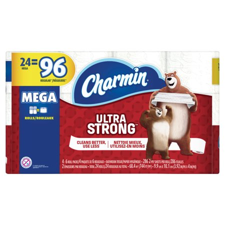 Charmin Ultra Strong toilet Paper, 24 Mega Rolls (= 96 Regular Rolls)