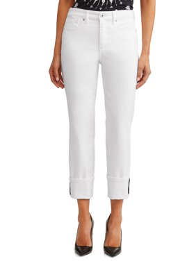 Veronica Cuffed Straight Leg High Waist Jean Women's (White)