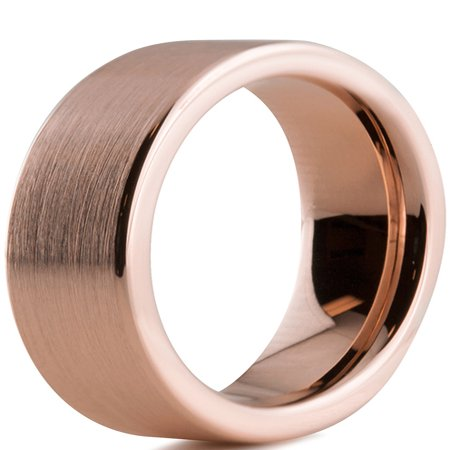 Tungsten Wedding Band Ring 4mm for Men Women Comfort Fit 18K Rose Gold Plated Plated Pipe Cut Flat  Brushed Polished Lifetime Guarantee ()