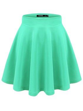 Doublju Women's Basic Versatile Stretchy Flared Skater Skirt MINT L