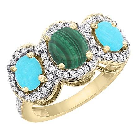 10K Yellow Gold Natural Malachite & Turquoise 3-Stone Ring Oval Diamond Accent, size (Turquoise Malachite)