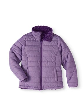 Climate Concepts Girls' Mock Neck Quilted Jacket with Faux Fur Lining