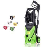3000 PSI Professional Electric Pressure Washer 1.7GPM, 1800W Rolling Wheels High Pressure Washer Cleaner Machine with Power Hose Nozzle Gun and 5 Quick-Connect spray tips HITC