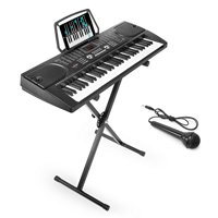 Hamzer 61-Key Electronic Piano Electric Organ Music Keyboard with Stand - Black