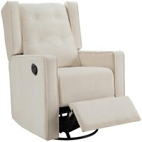 Naomi Home Odelia Swivel Rocker Recliner-Color:Cream,Fabric:Microfiber