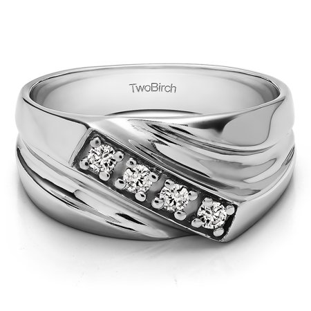 Brilliant Moissanite Mounted in Sterling Silver Brilliant Moissanite Men's Band with Open Ended channel(0.2crt) ()