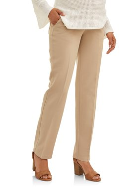 Maternity Demi-Panel Straight-Leg Career Pants with Side Pockets -- Available in Plus Sizes
