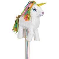 White Unicorn Pinata, Pull String, 17in