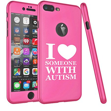 For Apple iPhone 360° Full Body Thin Slim Hard Case Cover + Tempered Glass Screen Protector I Love Heart Someone With Autism (Hot Pink For iPhone - Pink Love Hard Protector