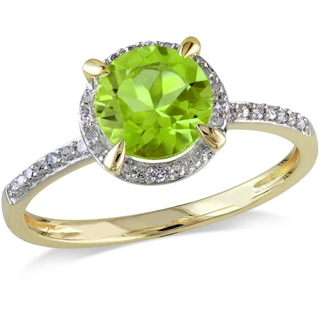 1-1/2 Carat T.G.W. Peridot and Diamond-Accent 10kt Yellow Gold Halo Ring