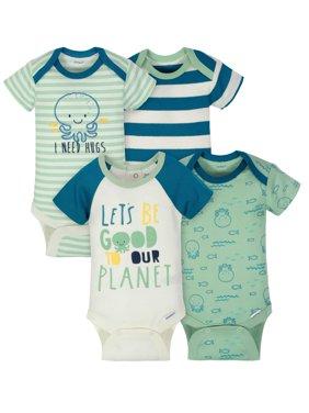 Short Sleeve Onesies Bodysuits, 4pk (Baby Boys)
