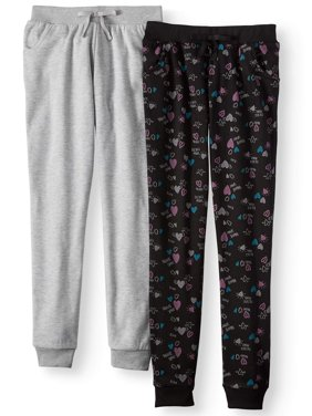 Printed and Heathered Fleece Joggers, 2-Pack (Little Girls & Big Girls)