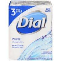 Dial Antibacterial Deodorant Bar Soap, White, 4 Ounce Bars, 3 Count