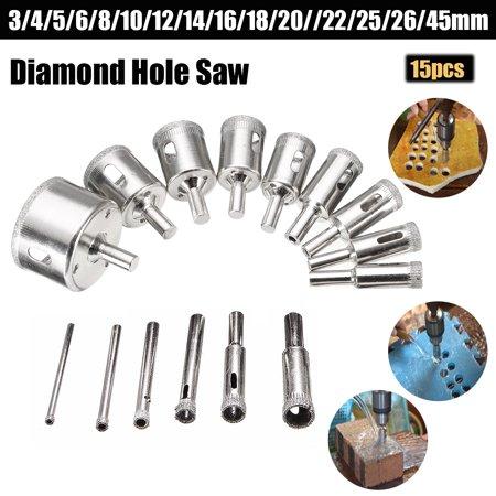 Diamond Hole Saw Drill Bit Set,15 PCS Diamond 3-45mm Hole Saw Tile Ceramic Glass Porcelain Marble Drill Bit Cutter Metal Tool