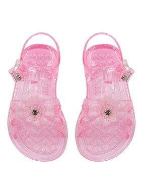 Sara Z Toddler Girls Strappy Jelly Slingback Flat Sandal with Rhinestone Flower 5/6 Pink
