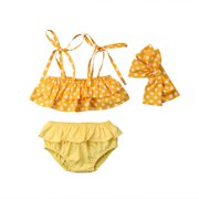 7f9d422a52 3PCs Baby Girl Swimsuit Polka Dot Off Shoulder Tube Top Ruffle Pleated  Bottom Bowknot Bikini Tankini