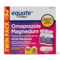 Equate Acid Reducer Omeprazole Magnesium Capsules, 20.6 mg, 28 Ct, 2 Pk