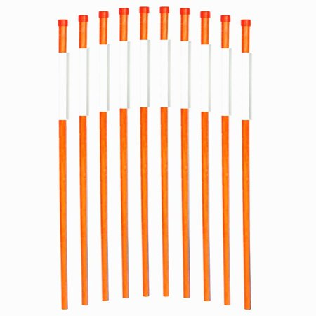 Reflective Lawn Marker (FiberMarkers 48-Inch Reflective Driveway Markers Driveway Poles for Easy Visibility at Night 1/4 Inch Diameter Orange,50 pack)