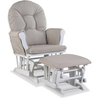 Storkcraft Swirl Hoop Glider and Ottoman, Taupe Cushions, Choose Your Finish