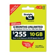 Straight Talk $255 Unlimited 6-Month/180-Day Plan (with up to 10GB of data at high speeds, then 2G*) (Email Delivery)