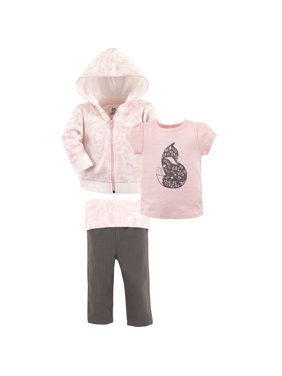 Hudson Baby Toddler Girl Hoodie, T-Shirt & Pants, 3pc Outfit Set