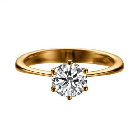 2 Carat Lab Created White Sapphire Ring Rose Gold 14K 6 prongs Round 2 Carat Fine Prong