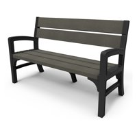 Keter Montero 3 Seat Garden Bench, Resin Outdoor Patio Furniture, Brown