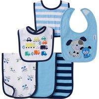 Gerber Newborn Baby Boy Terry Bibs and Terry Lined Burp Cloths, 6-Pack