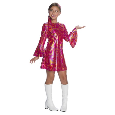 Girls Fuschia Swirl Disco Diva Costume - Girl Disco Costume