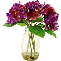 """12"""" Artificial Hydrangeas in a Mason Jar with Wire Grid Lid in Acrylic Water with River Rocks"""
