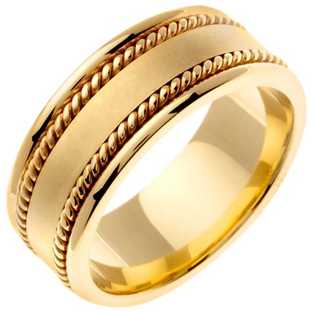 14K Gold Rope Edge Braid Handmade Comfort Fit Women
