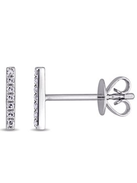 Miabella Diamond-Accent 14kt White Gold Bar Earrings