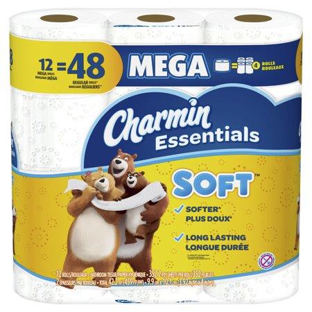 Charmin Essentials Soft Toilet Paper, 12 Mega Rolls ...