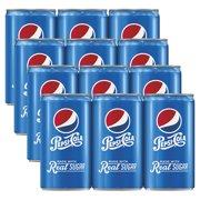 (4 Pack) Pepsi Real Sugar Mini Cans, 7.5 Fl Oz, 6 Count