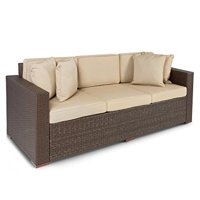 Best ChoiceProducts Outdoor Wicker Patio Furniture Sofa 3 Seater Luxury Comfort Brown Wicker Couch