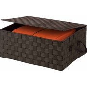 Honey Can Do Woven Storage Box with Hinged Lid, Espresso