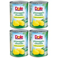 (4 Pack) Dole Pineapple Chunks in 100% Pineapple Juice, 20 oz