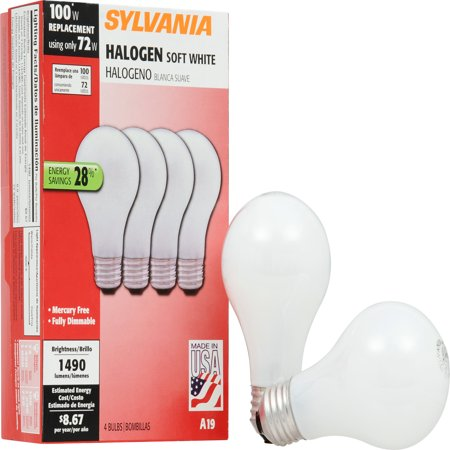 SYLVANIA 100W Replacement 72W Halogen Light Bulbs, Soft White, 4 Pack