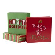 Holiday Time Decorative Gift Boxes, Happy Holiday Theme, Assorted Sizes, 3 Count