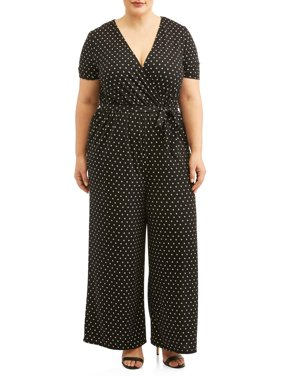 Women's Plus Size Short Sleeve Knit Surplice Jumpsuit