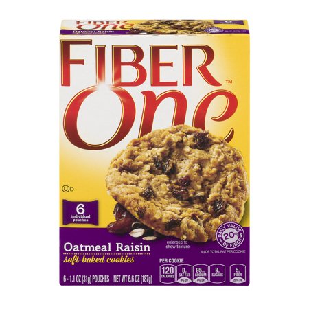 (3 Pack) Fiber One Oatmeal Raisin Soft-Baked Cookies 6 ct Box, 1.1 OZ