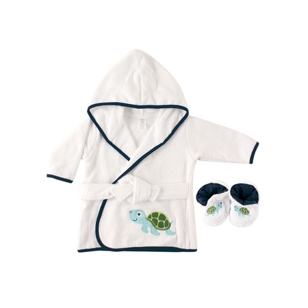 Luvable Friends Woven terry bathrobe & slippers bath time set (baby boys or baby girls - Frog Robe